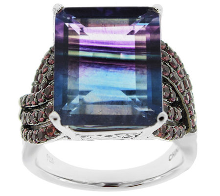Sterling Silver 14 00 Cttw Bi Color Fluorite Rhodolite Ring