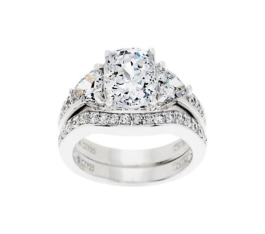 Diamonique 2.95 cttw 100-Facet Bridal Ring Set,Platinum Clad