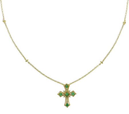 Judith Ripka 14K Gold Emerald & Diamond Cross Necklace