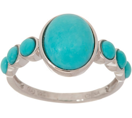 Oval & Round Sleeping Beauty Turquoise Sterling Ring