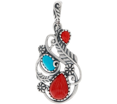 American West Red Coral & Turquoise Sterling Silver Leaf Enhancer