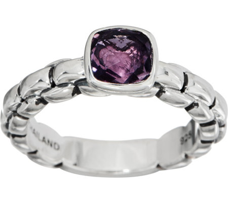 JAI Sterling Silver Amethyst Box Chain Ring