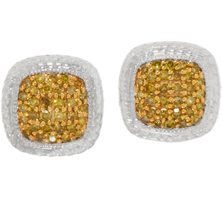 Colored 1/4cttw Diamond Cushion Shape Studs, Sterling, by Affinity