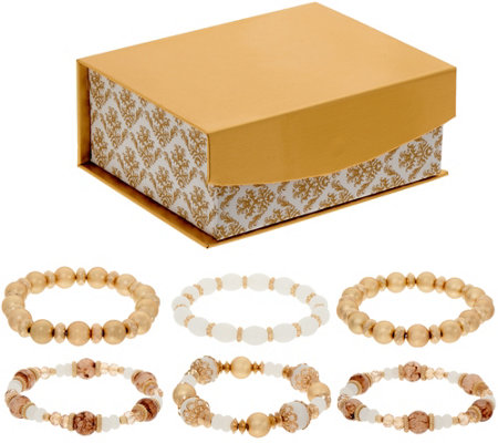 Susan Graver Set of 6 Stretch Bracelets in a Gift Box
