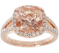 Cushion Cut Morganite & Diamond Ring, 14K, 3.00 cttw - J355443