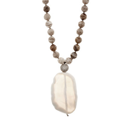 """As Is"" Ellie Madison Faceted Agate Beads & Agate Tablet PendantNecklace"