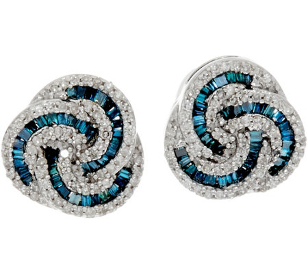 """As Is"" Baguette & Round Diamond Love Knot Studs Sterl. Affinity"
