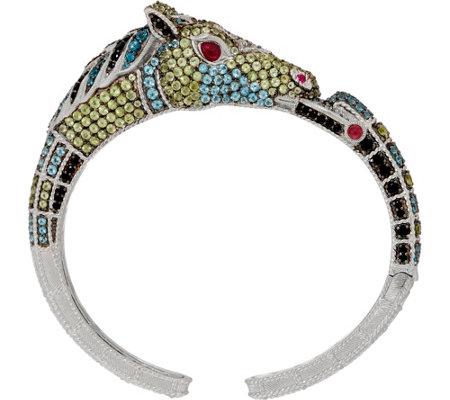 As Is Judith Ripka Sterling Silver Gemstone Heather Horse Cuff 9 00 Cttw