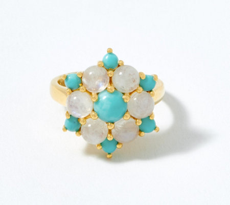 Moonstone & Turquoise Cluster Ring, 14K Plated