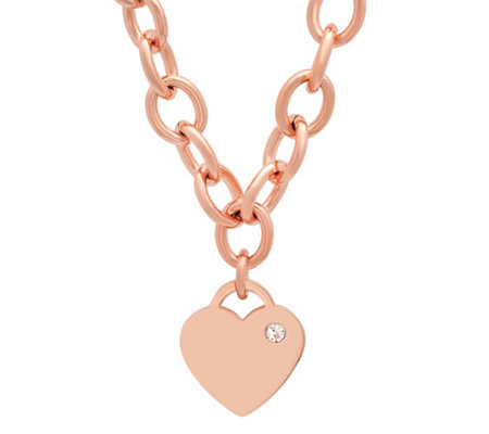 Steel By Design Rolo Necklace With Crystalheart