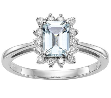 0.70 ct Aquamarine & 1/5 cttw Diamond Ring, 14K White Gold
