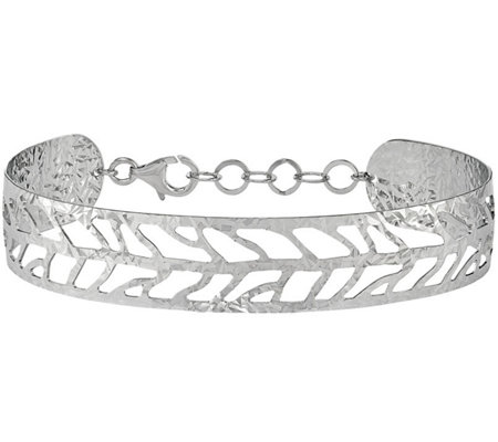 Sterling Leaf Cuff, 8.1g by Silver Style