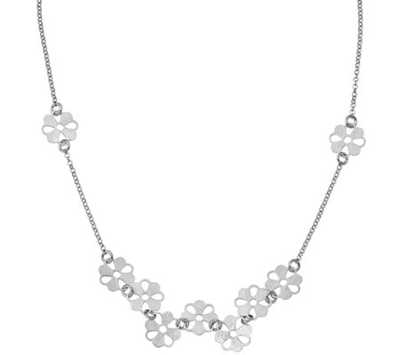 Sterling Brushed Flower Necklace, 6.6g by Silver Style