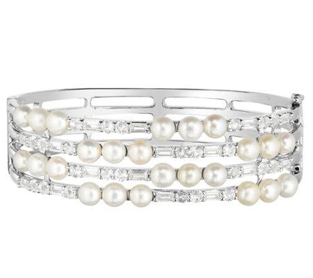 Honora Cultured Pearl & White Topaz 4-Row Sterling Bangle