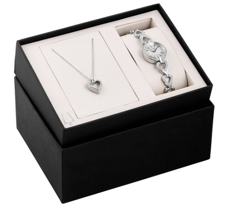 Bulova Women's Stainless Crystal Watch & HeartNecklace Set