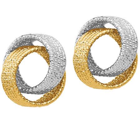14k Gold Textured Interlocking Hoop Earrings