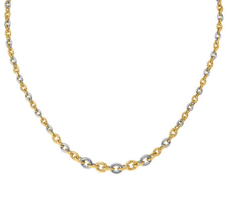 Italian Gold Two Toned Graduated Cable Link Necklace 14k