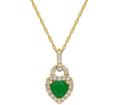 Bellini 14K 0.65 cttw Emerald & Diamond Pendantw/ Chain