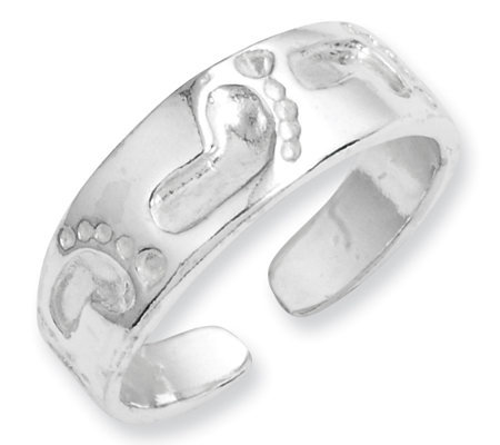 Sterling Footprint Toe Ring