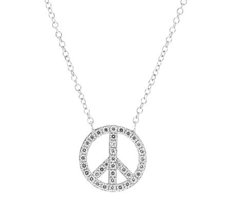 Diamonique Peace Sign Pendant w/ Chain, Platinum Clad