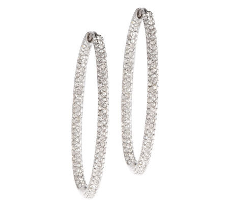 Nadri Inside Out Pave Style Oval Hoop Earrings