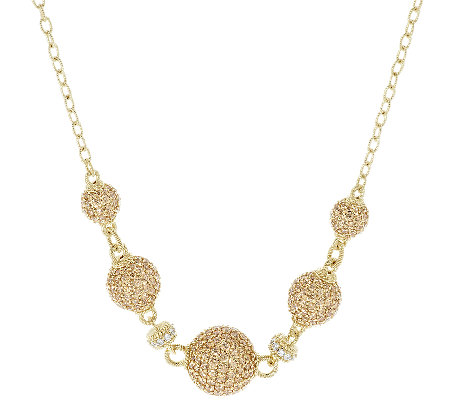 Judith Ripka Sterling & 14K Yellow Clad Pave Diamonique Bead Necklace