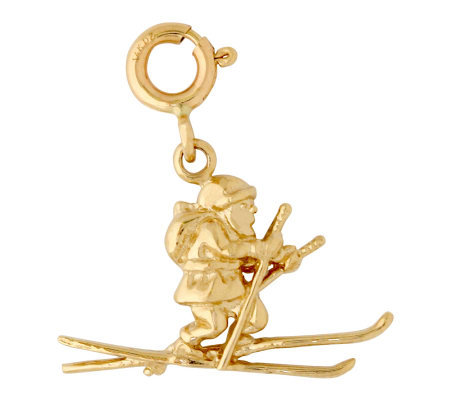 14K Yellow Gold Santa on Skis Charm
