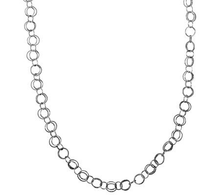 Sterling Polished & Textured Circle Link Necklace