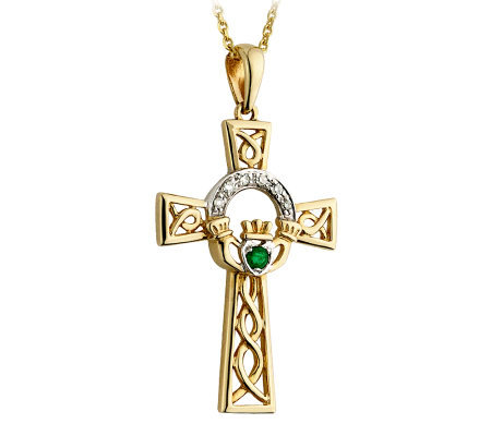 Solvar Diamond & Emerald Claddagh Cross Pendant, 14K