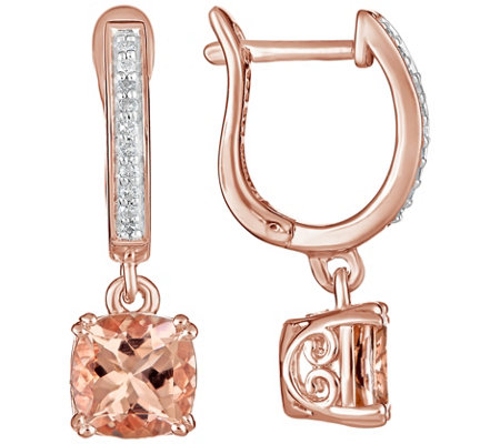 Sterling 2.00 cttw Morganite & Diamond Earrings14K Plated