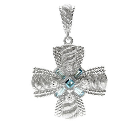 Judith Ripka Sterling Diamonique Swiss Blue Topaz Enhancer