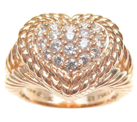 Judith Ripka Sterling Diamonique Pave Heart Ring 14K Rose Cla