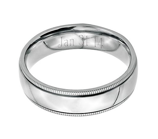 Stainless Steel 6mm Polished Milgrain Engravable Ring