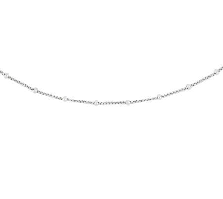 "Sterling 20"" Polished Bead Station Box Chain Necklace"