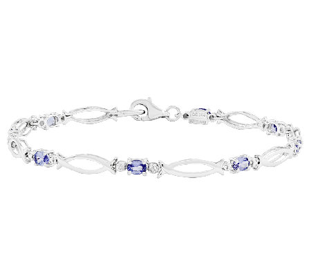 "Sterling 8.10 cttw 7-1/2"" Oval Tanzanite TennisBracelet"