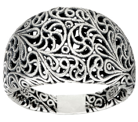 Sterling Silver Openwork Lace Tapered Band Ring by Or Paz