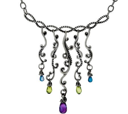 Carolyn Pollack Multi-Gemstone Sterling Silver Dangle Necklace