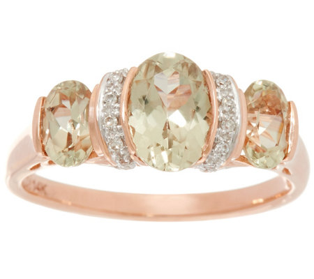 Csarite & Diamond 3-Stone Ring 14K Gold 2.00 cttw