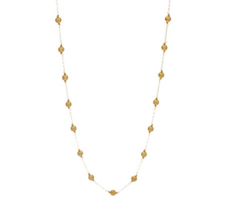 """As Is"" Italian Gold 24"" Polished Bead Necklace 14K Gold, 1.9g"
