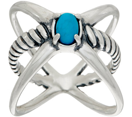 Carolyn Pollack Sterling Silver Gemstone XO Ring