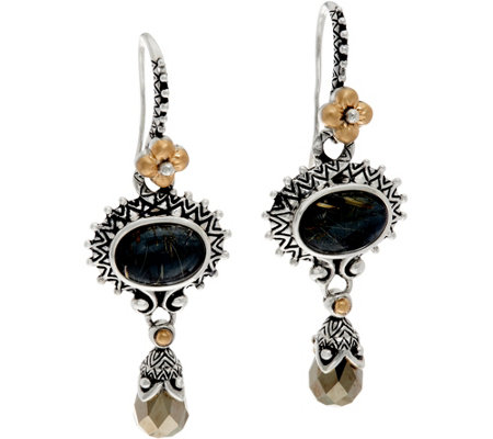Barbara Bixby Sterling/18K Rutilated Quartz Doublet Drop Earrings