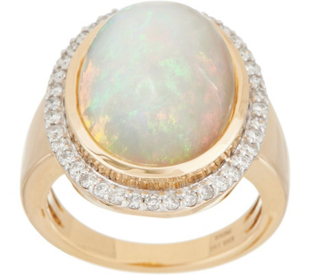 Bold Ethiopian Opal & Diamond Ring, 14K Gold