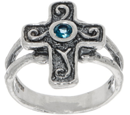 Or Paz Sterling London Blue Topaz Cross Ring