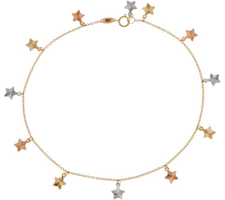 "Italian Gold 9"" Tri-Color Star Ankle Bracelet, 14K Gold 1.5g"