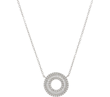 Diamonique Baguette Circle Necklace, Sterling