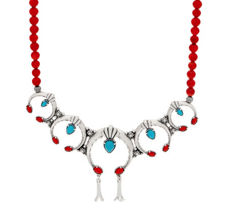 American West Multi Gemstone Sterling Silver Naja Bead Necklace