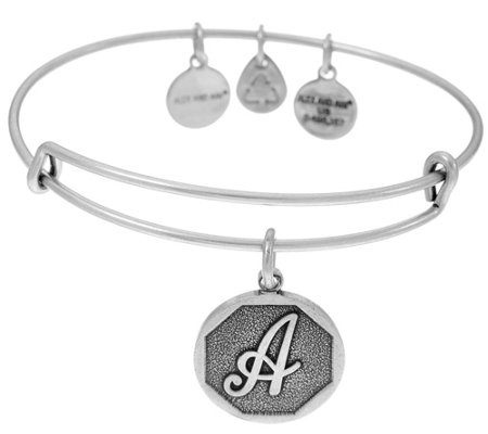 Alex and Ani Silvertone Initial Charm Bangles
