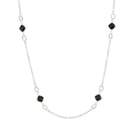 "Tiffany Kay Sterling Silver Herringbone Onyx 36"" Necklace"