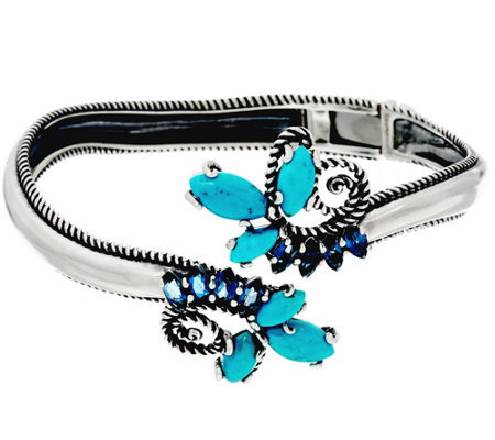 """As Is"" Carolyn Pollack Sterl. Turquoise & 1.50cttw Blue Topaz Cuff"