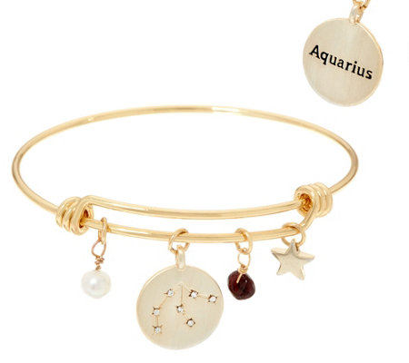 """As Is"" Goldtone Zodiac Multi-Charm Expandable Bangle"